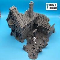 Ruined Tavern Building - Terrain, Warhammer Fantasy, DnD, AoS, Frostgrave, 28mm