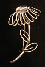 Signed IS 835 Retro Modern Continental Silver Wire Loop Daisy Flower Pin Brooch