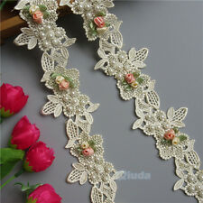 1yd Flower Pearl Lace Edge Trim Wedding Ribbon Applique Sewing Dress Craft DIY