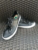 Restricted Sneakers Women's Size 8 Black Faux Leather Satin Laces Silver Accent
