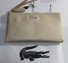 NWT LACOSTE Rich Gold Embroidered GATOR Logo Top Zip Clutch Bag Wristlet