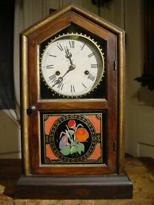 """ANTIQUE EARLY NEW HAVEN """"TUSCAN"""" 1880 30 HOUR ROSEWOOD SHELF CLOCK WORKING WELL"""