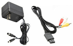 Audio AV RCA+AC Cable Power Supply Adapter Cord For Super Nintendo SNES Game Set
