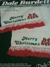 VINTAGE CHRISTMAS CROSS STITCH KIT TEA TOWELS CHRISTMAS BEARS DALE BURDETT