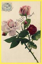 cpa Dos 1900 FANTAISIE Photo KUNSTDRUCK Fleurs Flowers ROSES et Boutons