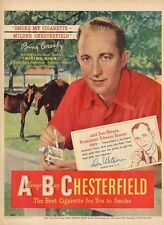 """1950 Chesterfield Cigarettes PRINT AD Bing Crosby """"Riding High"""" Equestrian Horse"""