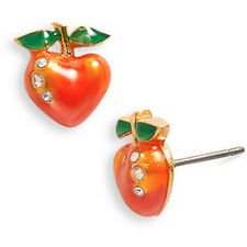 Juicy Couture Earrings Crystal Heart Shape Peaches NEW $42