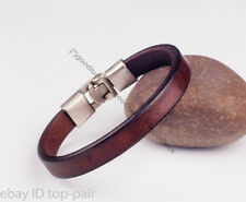 Simply Cool Single Band Real Leather Bracelet Wristband Men's Cuff COFFEE BROWN