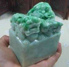 Vintage Natural Type A Emerald Jadeite Dragon Pixiu Big Imperial Jade Seal
