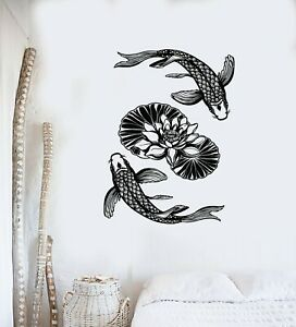 Vinyl Wall Decal Fish Chinese Goldfish Asian Style Lotus Carp Stickers (g4120)