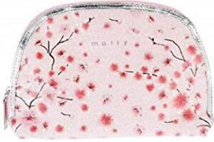 Mally Beauty Pink Cherry Blossom Flower Zipper Fabric Cosmetic Makeup Bag NEW