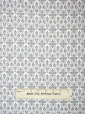 Black Tie Boogie Fabric ~ 100% Cotton By Yard ~ Red Rooster Gray White Damask