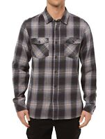 O'Neill Mens Shirt Black Large L Highlands Button Down Plaid Flannel $55 299