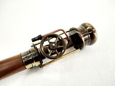Wooden Walking Stick Vintage Brass Steam Engine Antique Designer Walking Cane.