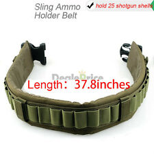 25 Shotgun 12 Gauge Ammo Holder ArmyGreen Tactical Shell Bandolier Belt Military