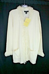 NWT Dialogue Flyaway Boucle Sweater with Fringe OFF-WHITE SZ 3X #H513