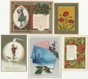 Five Aesthetic Movement Christmas Cards English & American Victorian Holiday