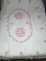 Vintage Tablecloth Linen Flower Cross Stitch Embroidery Ombré Pink  62x80  AS IS
