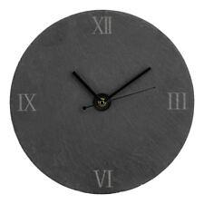 Traditional Look Grey Slate Roman Numerals Silver & Black Hands Wall Clock