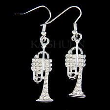 BB TRUMPET~ made with Swarovski Crystal Brass Music musical instrument Earrings