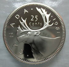 1981 CANADA 25 CENTS PROOF QUARTER HEAVY CAMEO COIN