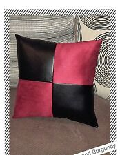 Accent Decorative leather pillow brown burgundy fabric cushion cover home sofa