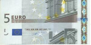 GERMANY 5 EURO NOTE 2002 (CUTTING ERROR AND DIFFERENT SERIAL NUMBER)
