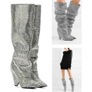 Womens Glitter Leather Embellished Rhinestone Crystal Covered Knee High Boots