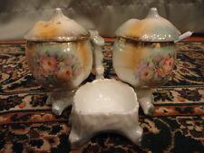 Porcelain Condiment Set Shaker Open Salt Jam Sugar Floral Luster Vintage