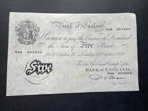 White Fiver - Five Pounds Note. 27th October 1950 - Beale - Great Condition
