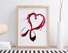 Original Watercolour Wine Glasses Love Splash Art Print. Prosecco Cava Fashion
