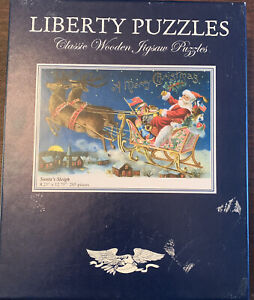 LIBERTY WOODEN JIGSAW PUZZLE SANTA'S SLEIGH 205 PIECES MADE U.S.A. EXCELLENT