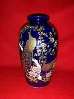 KUTANI JAPAN JAPANESE VASE PORCELAIN COBALT BLUE Peacock Pheasant RaRe ❤️sj11h1s