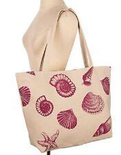 Seashell print canvas tote bag, double handle, zip closure, nautical theme