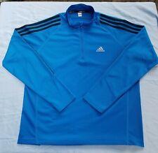 Boys XL Adidas Climacool Nylon Pullover Jacket Long Sleeve Blue School Half Zip