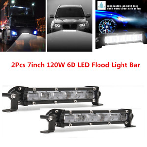 7inch 120W Single Row Slim 6D Flood Beam Off-Road LED Work Light Bar Waterproof
