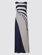 EX M& S Collection Drape Waist Striped  Maxi Dress Size 16