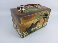 Vintage 1960s Vickie Jean 3D Decoupage Horses Wooden Box Purse/Case