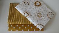 Öko-Tex Baumwollstoff  3 x 50 x 140/150 Tiere auf weiß + Punkte + Sternchen mais