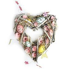 Rustic Handmade Easter Heart Wreath Hanging Decoration Eggs, Grass & Flowers