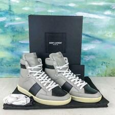 $595 YVES SAINT LAURENT Court Gray Leather Lace Up High Top Men's Sneakers SZ 43