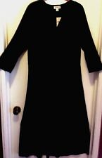 COLDWATER CREEK Womens M Black 3/4 Sleeve Travel Knit Dress MSRP $90+ NWT