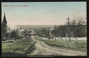 HANOVER KS Kansas c1912 North Street - Hand Colored!!