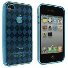 Flexible TPU Gel Case for iPhone 4 / 4S - Argyle Blue