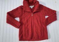 ARAN WOOLLEN MILLS Mor Inis Crafts Wool Zip Cardigan Sweater Medium Pink