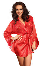 Sexy Satin Kimono Rot Peignoir Morgenmantel Spitze Nachtwäsche Hausmantel   S-L