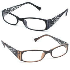 Reading Glasses Rectangle Frame Pretty Lattice Metal Arms Fancy