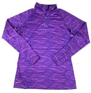 Nike Pro Combat Drifit Fitted Women's Size XL Purple 1/4 Zip Workout Shirt