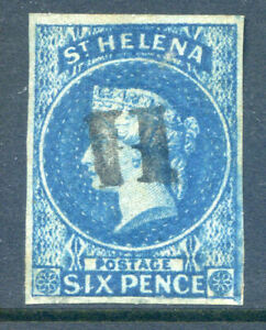 St. Helena 1856 6d blue a lovely used 4 clear margined copy (2019/06/07#01)