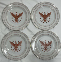 "(Set Of 4) Ethan Allen Federal Eagle Round Dinner Plates - 9 1/4"" Gold Trim"